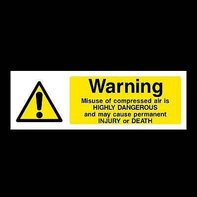 Warning Compressed Air Plastic Sign OR Sticker (WCD17) • 1.29£