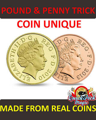 £14.50 • Buy Pound And Penny [ £1/1p Coin Unique ] Vanishing Penny Close Up Magic Coin Trick