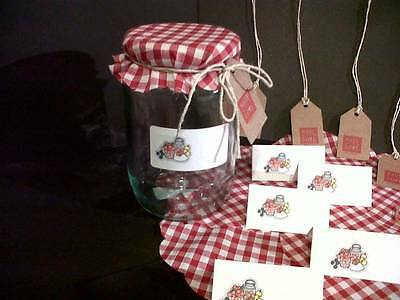 12 Jam Jar Covers With Matching Gift Tags And Labels • 12.20£