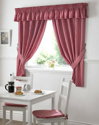 £14.22 • Buy Gingham Check Kitchen Curtains, Free Tie-backs ,Pelmet & Seat Pads Available