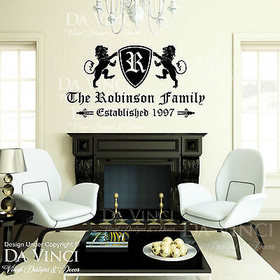 £33.46 • Buy Personalized Custom Family Name & Est Date Vinyl Wall Quote Decal Sticker Home