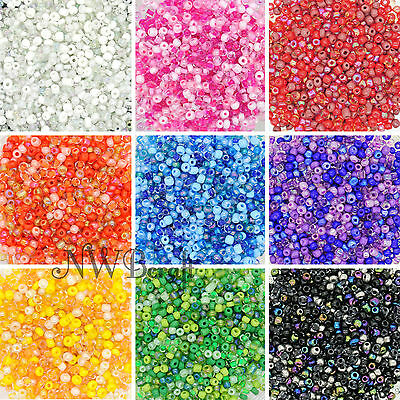 50g Glass Seed Beads 9 Mixed Colour Shades & Types, 2mm 3mm Or 4mm, UK Stock • 1.99£