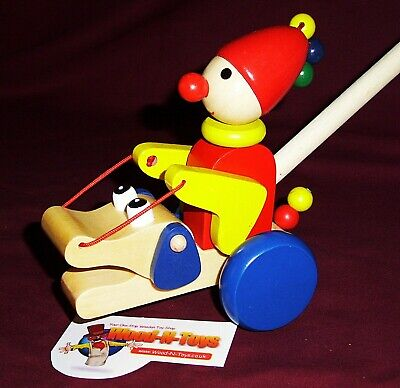 £8.99 • Buy Push Along Clown With Moving Arms - Wooden Toy