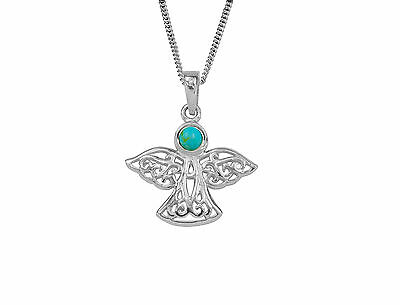 Guardian Angel December Turquoise Birthstone Necklace Pendant In Sterling Silver • 28.99£