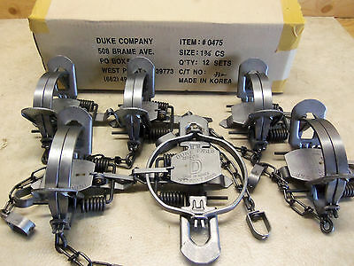 $53.15 • Buy 6 Duke # 1 3/4 Coil Spring Traps 0475 Raccoon Coyote Bobcat Fox Trapping