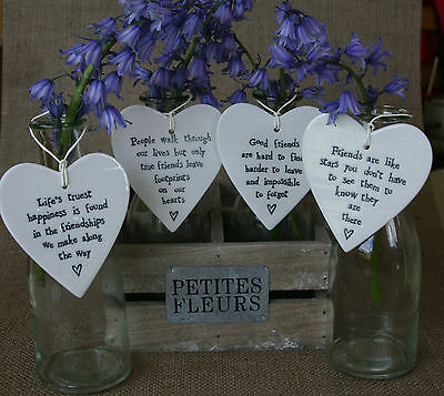 £5.99 • Buy East Of India Vintage Chic Porcelain Friendship Heart Signs Gifts Tags Shabby