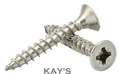 £3.62 • Buy 5mm 10g POZI COUNTERSUNK CHIPBOARD WOOD SCREWS FULLY THREADED A2 STAINLESS STEEL