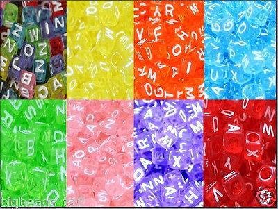 £1.98 • Buy Cube Colourful Assorted Acrylic Letter/alphabet Beads 6mm, 7mm Mixed In Random