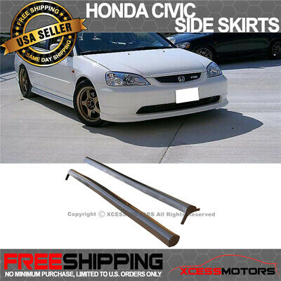 $129.99 • Buy Fits 01-05 Honda Civic 2 4Dr RS-Style Side Skirts Skirt Polypropylene