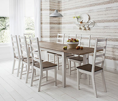 Dining Table And Chairs Dark Pine And White With Extending Table Canterbury • 369£
