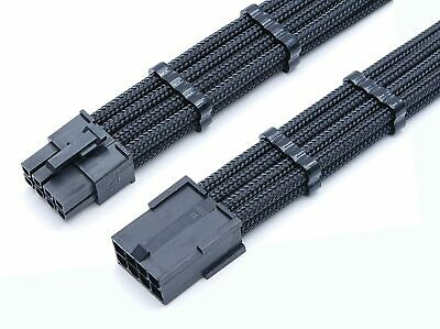 £8.99 • Buy 8 Pin PCIE GPU 30cm Extension Black Sleeved Extension Shakmods  + 2 Cable Combs