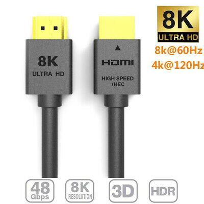 AU18.99 • Buy 2m HDMI 2.1 Cable Ultra HD 8K@60Hz 48Gbps 8K 4K UHD 3D Dynamic HDR Copper Wire
