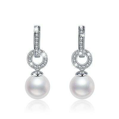 18k White Gold Plated Made With Swarovski Crystal Pearl Stud Earrings