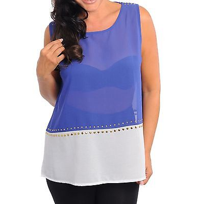 AU21 • Buy Womens Plus Size Clothing Sheer Blue And Cream Tunic Top With Gold Stud Detail