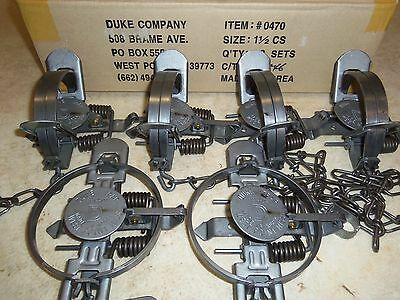 $43.65 • Buy 6 New Duke # 1 1/2 Coil Spring Traps 0470 Raccoon Fox Nutria Trapping Muskrat