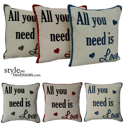 All You Need Is Love Chenille Cushion Covers / Filled Cushions In 3 Colours • 5.99£
