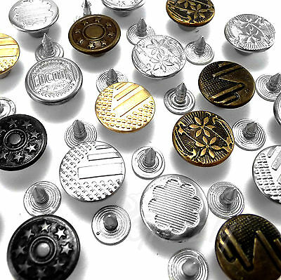 14 Mm Hammer On Denim Jeans Buttons Brass Based With Tack Alloy Studs AH1 • 1.69£