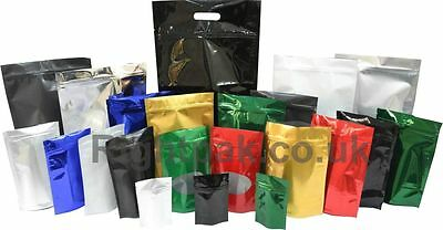 Heat Sealable Stand Up Pouches With Zip Lock Coffee, Supplements, Pet Food Pack • 6.17£