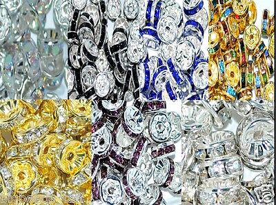 £2.49 • Buy 100/ 50pcs A+ Glass Rhinestone Rondelle Spacer Beads Various Colors And Sizes