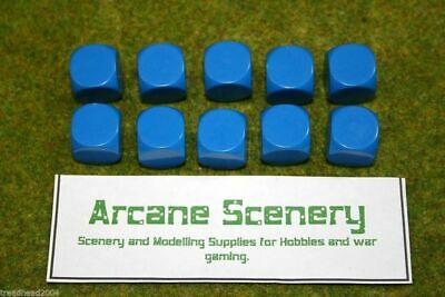 10 X 16mm BLANK SIX SIDED DICE BLUE Wargames Dice Or Casualty Markers • 2.99£