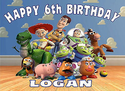 £4.90 • Buy Edible Toy Story Buzz Lightyear Woody Happy Birthday Name Age Icing Cake Topper