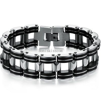 Silver Stainless Steel Biker Motorcycle Chain Black Rubber Link Bracelet For Men • 7.23£