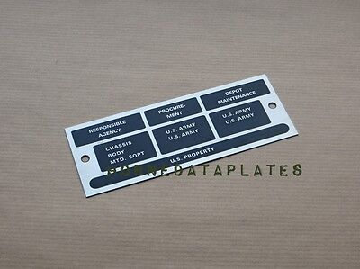 $24.99 • Buy  M416 Trailer Responsible Agency Data Plates Id Tags M38 M38a1 M151 Mutt