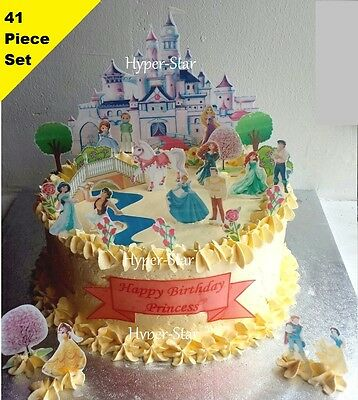 £5.28 • Buy Disney Princess Castle Cup Cake Scene Wafer Edible Birthday Party Set STAND UP
