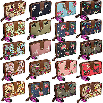 Medium / Large Purse Zipped Ladies Wallet Cards Window Big Zip Round Coin Pocket • 7.99£