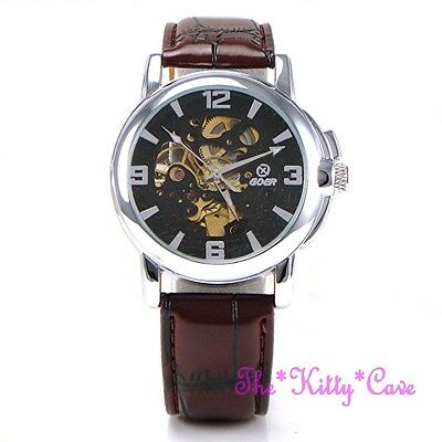 £34.99 • Buy Automatic Mechanical Skeleton Steampunk Silver Brown Leather Wind-Up Wrist Watch