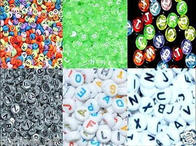 £1.89 • Buy 100pcs Flat Round 7mm Alphabe/ Letter & Numbers Acrylic  Beads Mixed In Random
