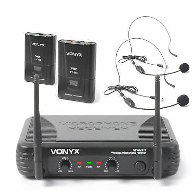 Vonyx STWM712H Dual Channel VHF Wireless Headset Microphone Set Aerobics Gym • 56.99£