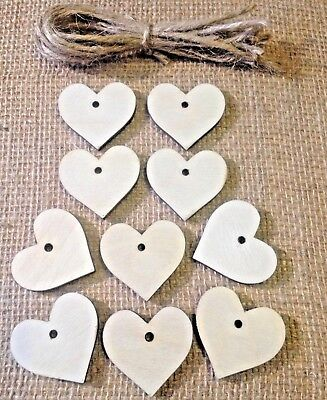 10 X Wooden Heart Gift Tags / Wedding Favours / Buy 2 Get 1 Free • 2.80£