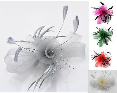 Butterfly Black Feather Wedding Ascot Fascinator On Comb Hat Hair Accessories • 9.99£