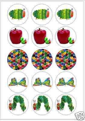 15 X 2  Hungry Caterpillar PRE CUT ICING Cup Cake Toppers Decorations • 4.30£