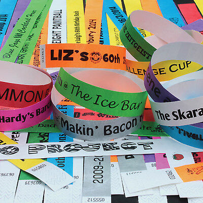 £3.99 • Buy PRINTED PARTY 19mm Tyvek Wristbands. Ideal For Parties, Festivals & Events