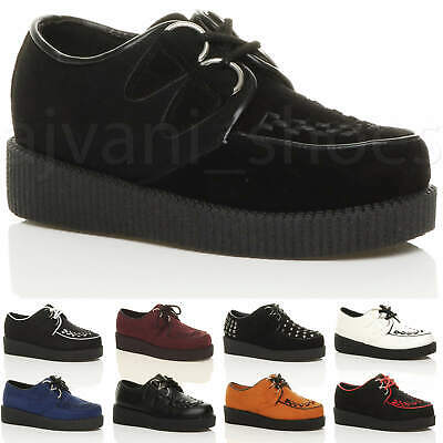 £16.99 • Buy Womens Ladies Flat Platform Wedge Lace Up Goth Punk Creepers Shoes Boots Size