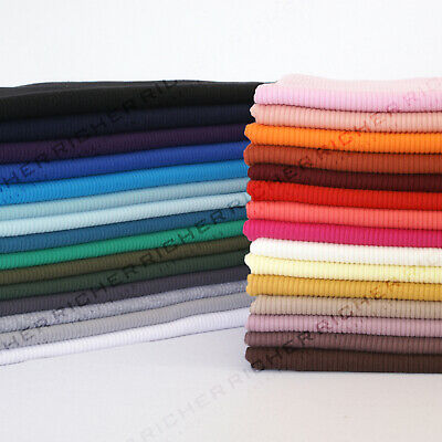£4.60 • Buy Half Meter 100% Knitted Cotton 2x2 Rib Babywear Stretch Jersey Fabric Material