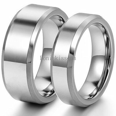 $11.99 • Buy Polished Comfort Fit Beveled-edge Tungsten Couples Ring Engagement Wedding Band