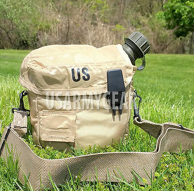 $ CDN31.78 • Buy 2 QT Collapsible Water Canteen + Desert Tan Cover Pouch W Sling US Army Military