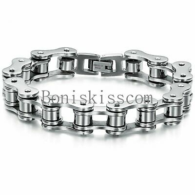 Motorcycle Biker Chain Bracelet Men's Heavy Silver Stainless Steel 8 Inch Bangle • 11.57£