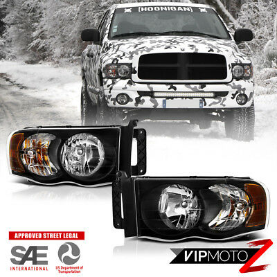 $71.56 • Buy For 2002-05 Dodge Ram 1500 2500 3500 HARLEY STYLE Pair Black Headlights Headlamp