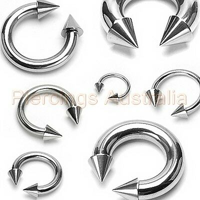 AU6.99 • Buy 316L Surgical Steel Spike Horse Shoe Bar Ring Jewellery CHOOSE SINGLE OR PAIR