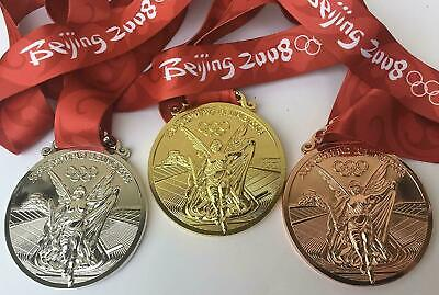 £49.98 • Buy Beijing 2008 Olympic Medal Set (Gold/Silver/Bronze) With 'Silk' Ribbon/Display !