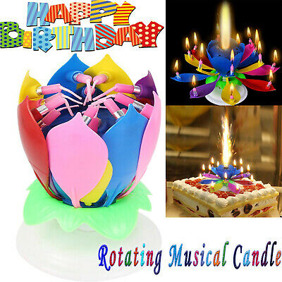 $ CDN7.77 • Buy ROTATING Lotus Candle Birthday Flower Musical Floral Cake Candles /w Music Magic
