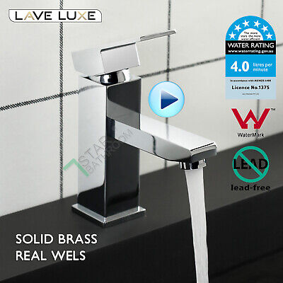 AU79 • Buy Square Chrome Basin Mixer Tap Bathroom Vanity Counter Top Standard Flick Faucet