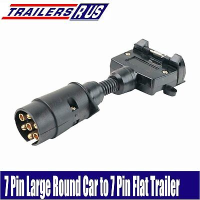 AU16.95 • Buy 7 Pin Large Round To 7 Pin Flat Trailer Connector Adaptor Plug