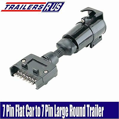 AU15.95 • Buy 7 Pin Flat To 7 Pin Large Round Trailer Connector Adaptor Plug