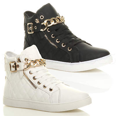 Womens Ladies Lace Up Hi High Top Pumps Trainers Sneakers Shoes Ankle Boots Size • 14.99£