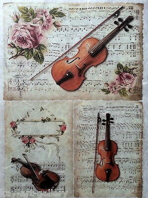 £1.99 • Buy Rice Decoupage Paper / Music & Roses / Craft  / Decoupage Sheets / Scrapbooking